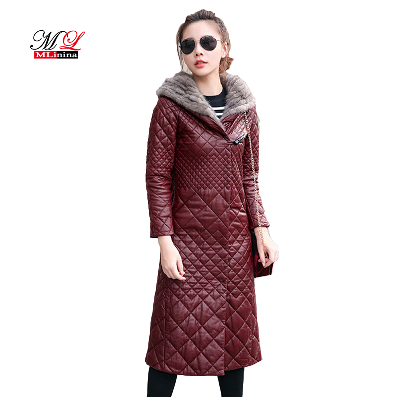 MLinina 2019 Winter Faux Sheepskin   Leather   Coat Women Slim Long Sleeve Jacket Zipper Plus Size 4XL 5XL Long Fur Collar Coats