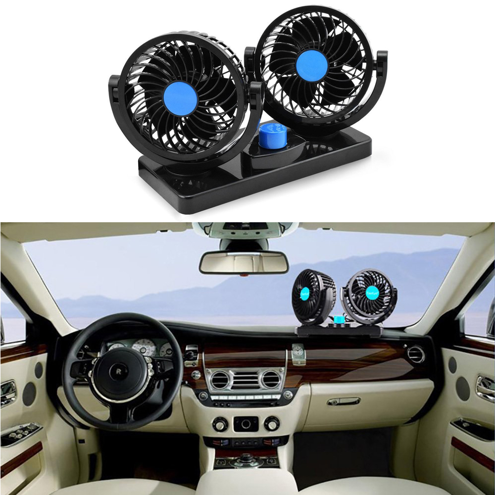 Car Fan 12V Electric Cooling Fan 2 Speed Adjustable Auto Cooling Air Fan 360 Degree Rotatable Double Head for SUV//RV Vehicles