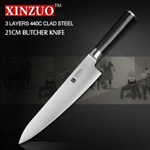 XINZUO 8 inch butcher knife 3-layer 440C clad steel chef knife kitchen knives chef's knives G10 handle free shipping