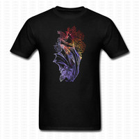 Inverted Bat And Roses Funny T Shirt Brand Clothing Cute Animal Printed O Neck Punk Shirts