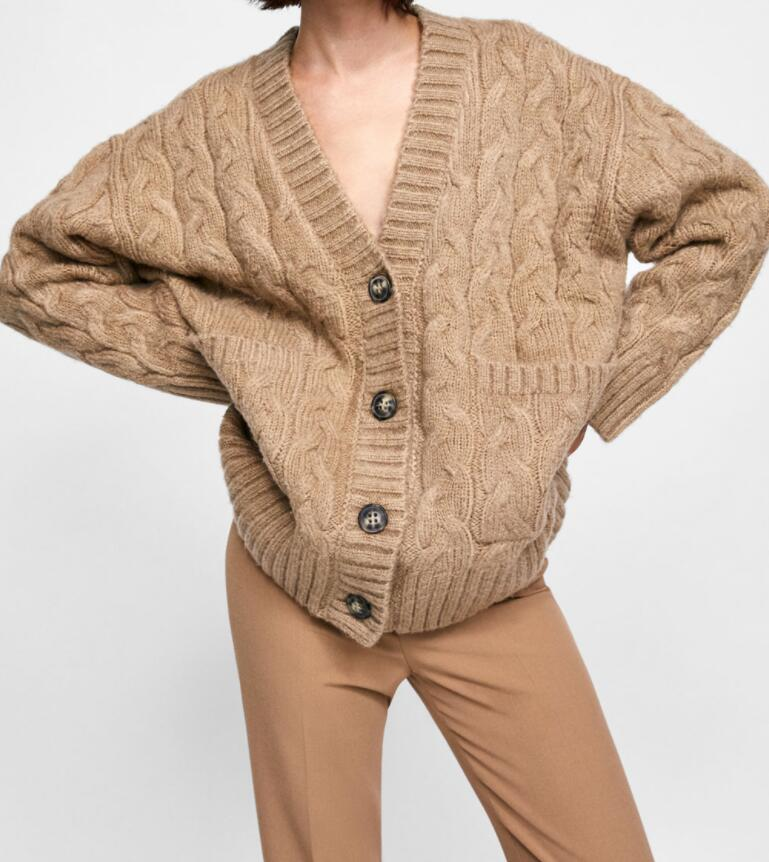 529cb20aa2bba WISHBOP 2018 MID-CAMEL CABLE-KNIT OVERSIZED Knit CARDIGAN V-Neck Button UP