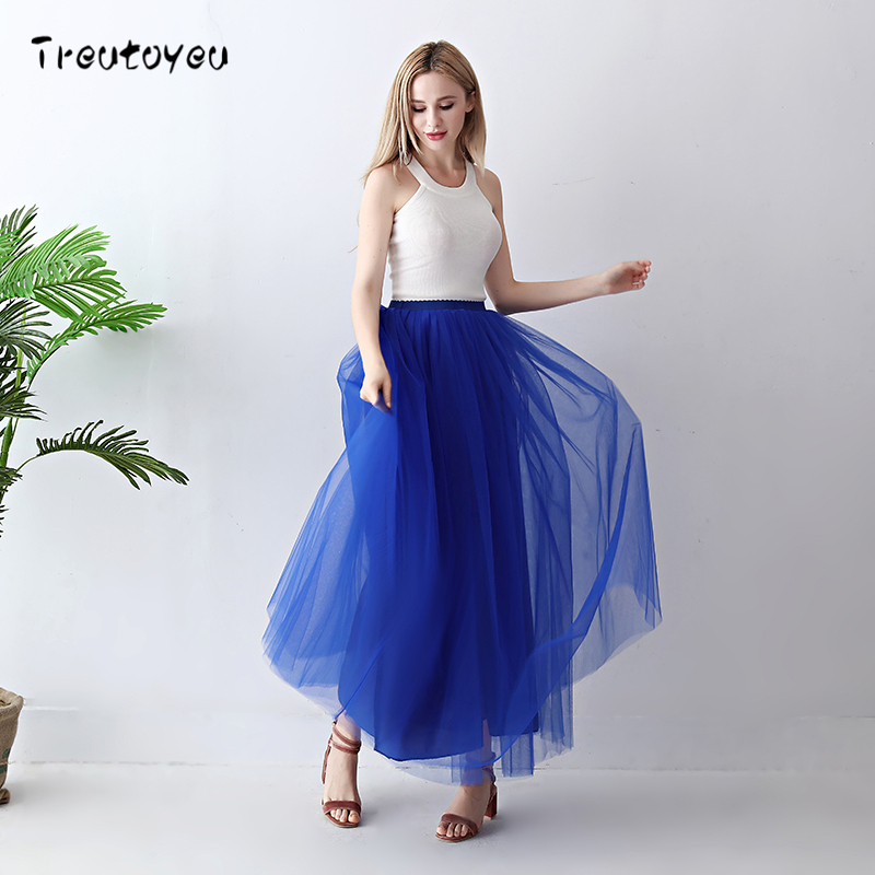 Image 2 - Treutoyeu 5 Layers Maxi Long Women Skirt Tulle Skirts Bridesmaid Wedding Skirt Free Size Faldas Saias Femininas Jupe-in Skirts from Women's Clothing