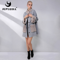JEPLUDA High Quality Cashmere Coat With Sleeve pocket Natural Mink Fur Coat Women's Real Fur Coat Loose Wool blend Jacket Women