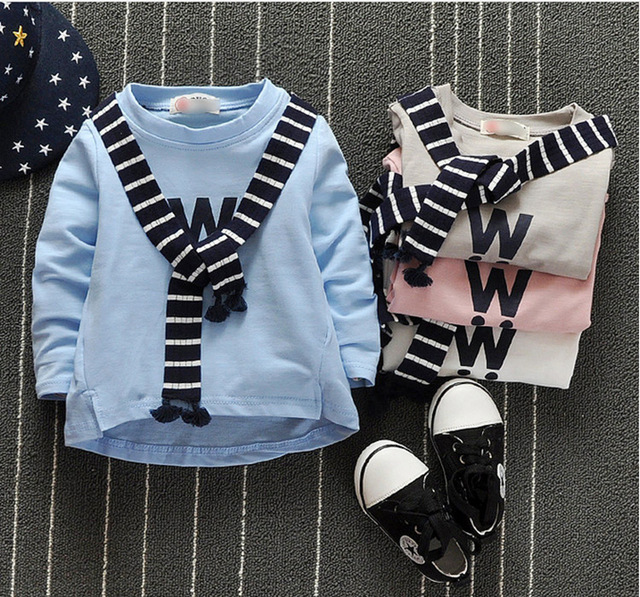 1-3years 2016 Весенние и Осенние Детская Одежда Мальчиков Sweatershirt Детские Хлопок Печатными Буквами Шаль Досуг Рубашка