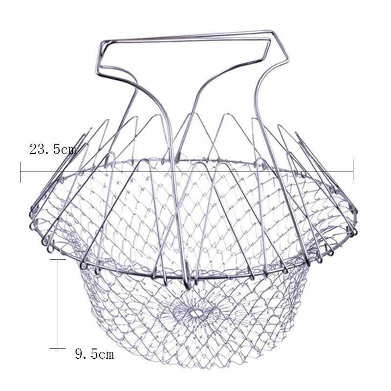 Składany kosz do płukania parą ze stali nierdzewnej teleskopowy składany koszyk dla kucharza składany kosz do smażenia durszlak sitko