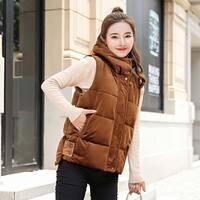 Brieuces Autumn Winter Vest Women female thickening vest down cotton slim woman hooded velvet warm women waistcoat