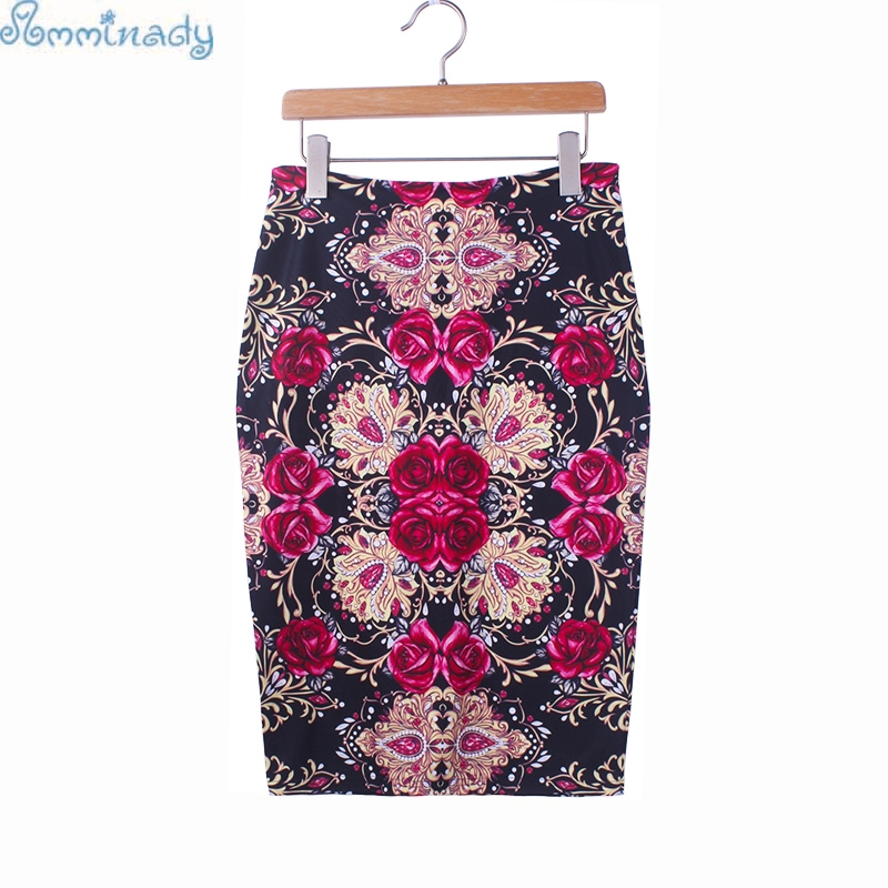 Gorgeous Rose flower print girl pencil skirt S-4XL vogue women midi bottoms plus size bodycon faldas low price(China)