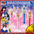 Original Bandai Sailor Moon Crystal 20th Anniversary Gashapon Sailor Moon Wand Charm Part 1 Henshin Rod & Stick Set