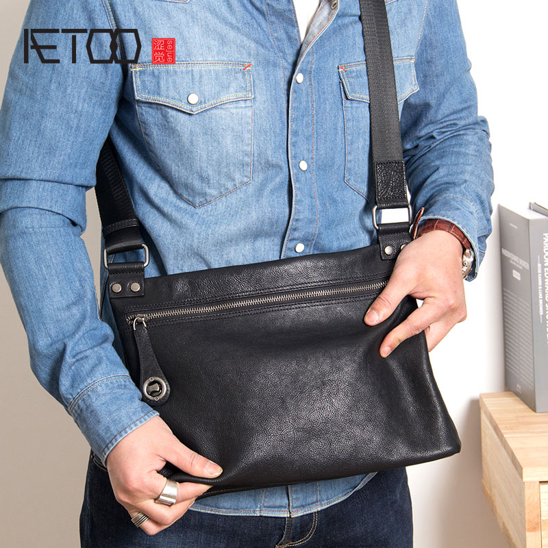AETOO Leather mens bag new mens shoulder Messenger bag cross section casual soft leather small bag anti-theft bagAETOO Leather mens bag new mens shoulder Messenger bag cross section casual soft leather small bag anti-theft bag