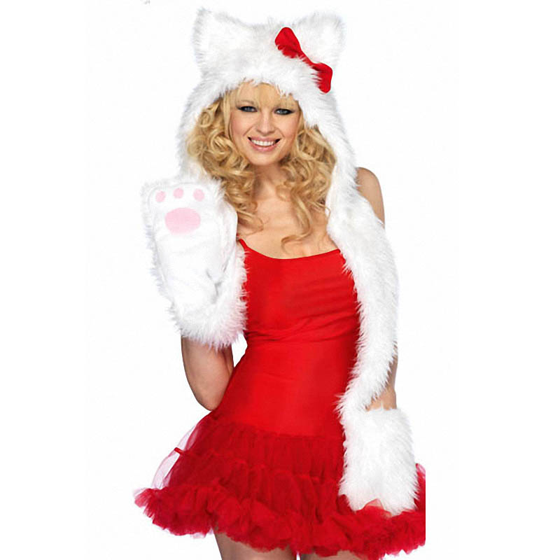 Adorable Fuzzy Furry Soft White Plush Paw Cat Kitten Red Bow Costume Hood Hat