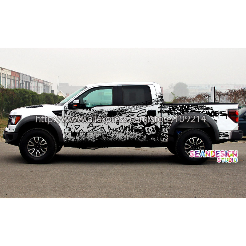 DC KenBlock style F150 Rubicon Silverado Ram Cherokee Discovery SUV 4WD 4X4 FOUR WHEEL Van Truck Decal Stickers Waterproof Z02 ...