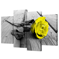 Visual Art Decor 4 Panel Wall Art Yellow Rose Pictures Canvas Art Prints Black and White Flower Painting Modern Home Decoration