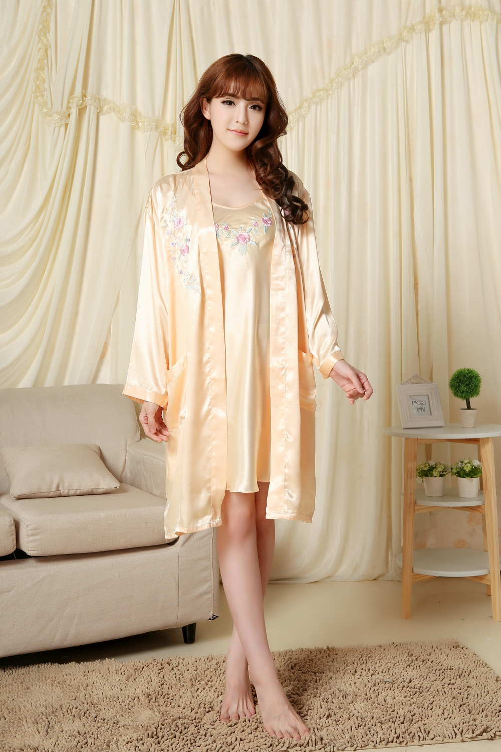 women\'s robe nightgown skirt set Women Bath robe set satin colorful ...