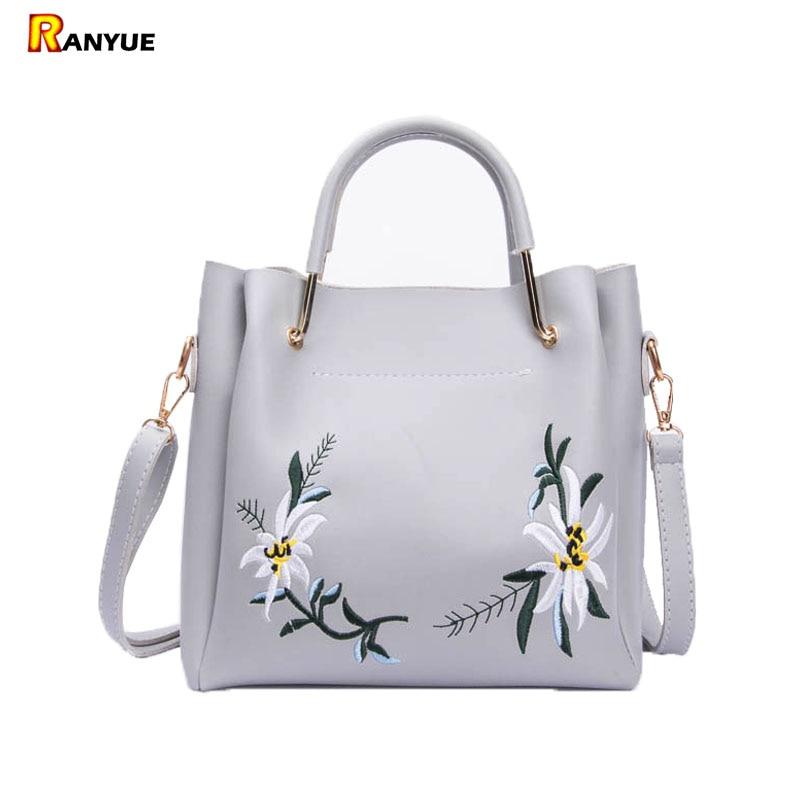 Floral Women Tote Bags Embroidery Bag Flowers Shoulder Bags For Women Handbags Set 2017 Luxury Designer Crossbody Bolsa Feminina tisa sport step n9099