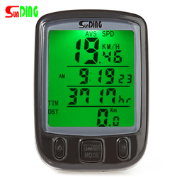 SunDing SD-563B Bicycle Computer Water Resistant Cycling Odometer Speedometer with Green LCD Backlight Bike Computer SD - 563B