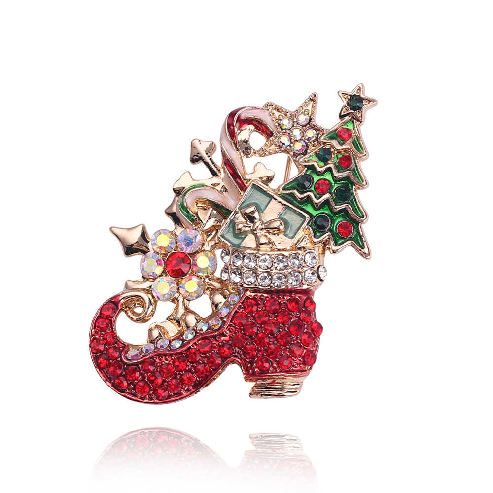 Christmas Brooch Pins Fashion Jewelry Enamel Christmas Tree Brooches For Women Crystal Santa Sock Gold Pin Gifts For Women Party