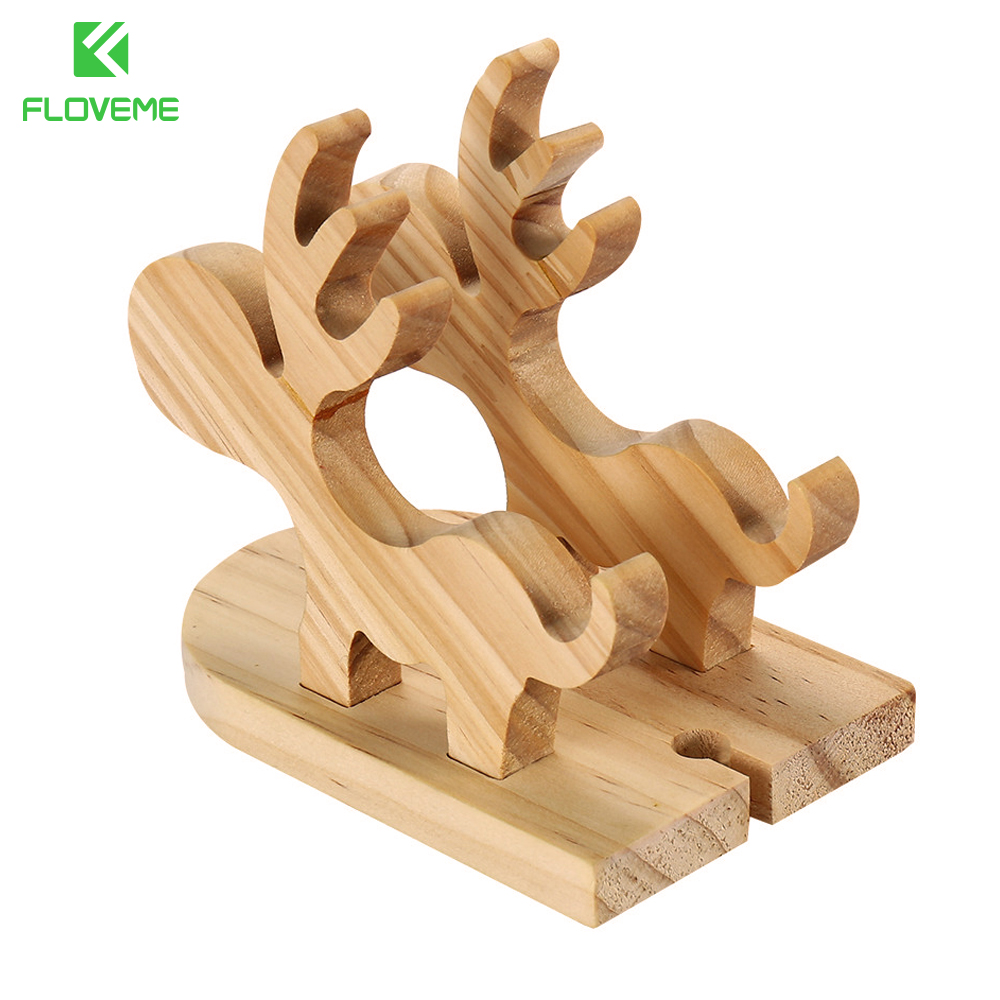 FLOVEME Moose Wood <font><b>Stand</b></font> <font><b>Phone</b></font> Holder Cute Christmas Mobile <font><b>Phone</b></font> Holder Desk <font><b>Charging</b></font> Dock Holder For iPhone 6 iPad Pro Tablet