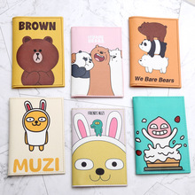 Cartoon We Bare Bears Passport Holder Men Leather Business Card cover Women Credit Card holder Travel Passport Cover