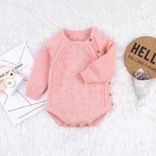 Autumn Babies Bodysuits for Girls Long Sleeve Onesie Tops Casual Solid Knitted Newborns Bebes Jumpsuits Toddler Kids Outfit