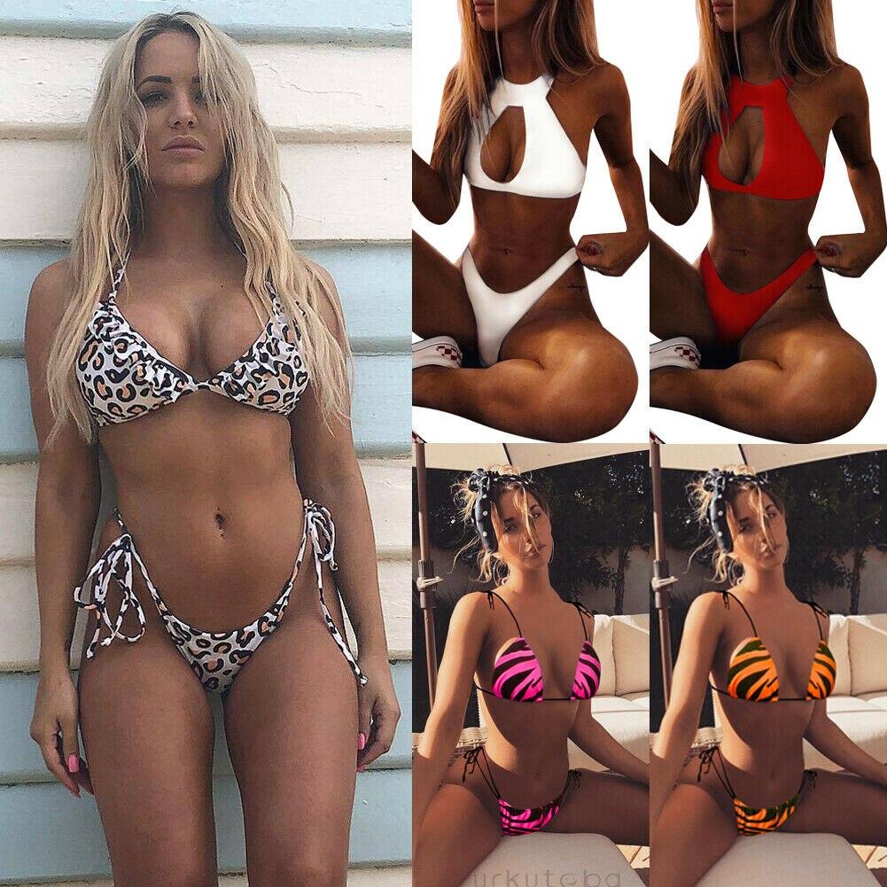 New Women Push Up Bikini Set Padded Swimwear Bandage Lady Swimsuit Bathing Suit