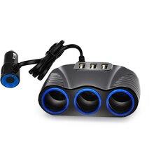 цена на  3 Way Auto Sockets Car Cigarette Lighter Adapter Lighter Splitter Lighter 5V 3.1A Output Power 3 USB Car Charger 12V/24V