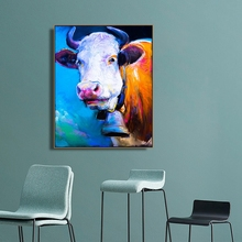 Watercolor Cow Animals Wall Art Poster and Print Canvas Painting Calligraphy Decorative Picture for Living Room Home Decor