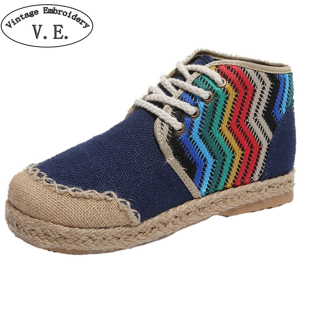 2018 New Women Shoes Thai Indian Embroidery Cotton Linen Canvas Cloth Handmade Women Round Toe Lace Up Causal Shoes Woman