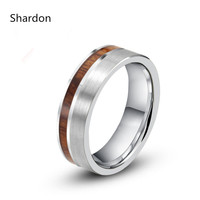 6mm 8mm Tungsten Carbide Oak Wood Ring With Stain Finishing Wood Inlay Engagement Wedding Band