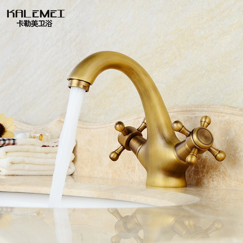 European Antique Basin Faucet Brass Brushed Bronze Kitchen Faucet Double Handle Hole Deck Mount Mixer Water Tap Torneira Cozinha newly arrived pull out kitchen faucet gold sink mixer tap 360 degree rotation torneira cozinha mixer taps kitchen tap