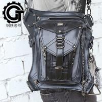 Women/Men Black Leather Steampunk Leg Thigh Hip Holster Wallet Purse Pouch Mini Waist Packs/Messenger Bag