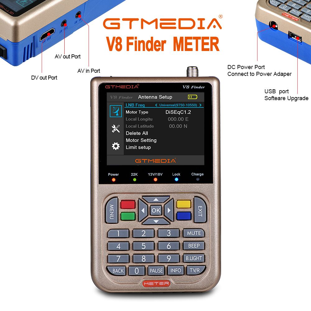 """GTmedia V8 Finder Meter Digital Satellite Finder HD DVB S2/S2X ACM High Definition 3.5"""" LCD With 3000mAh Battery LNB Sat finder-in Satellite TV Receiver from Consumer Electronics"""