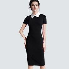 Женская одежда, винтажное Черное женское Формальное деловое офисное платье с коротким рукавом, повседневное облегающее платье-карандаш 751