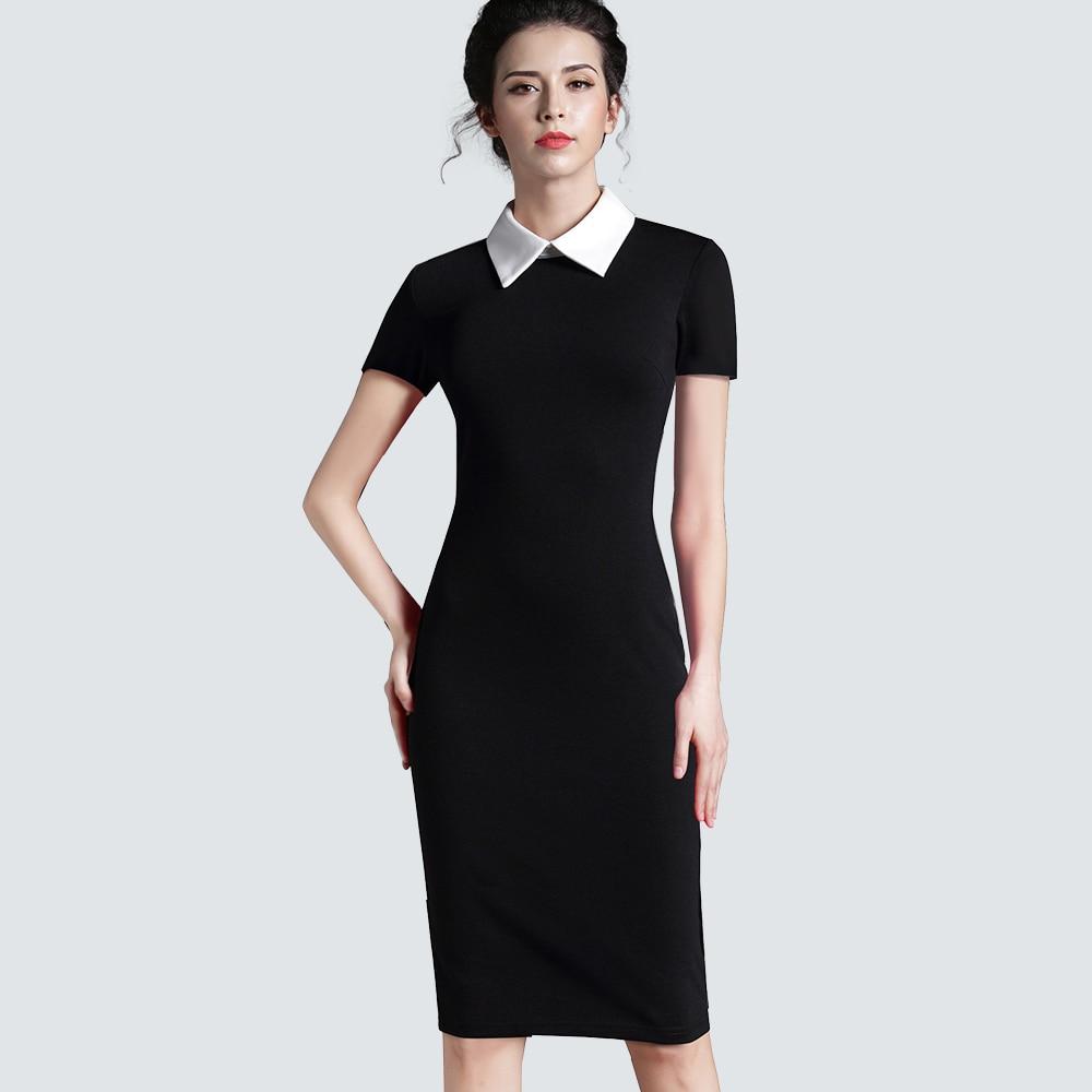 wanita pakaian vintage hitam kantor formal kerja bisnis lengan pendek kasual bodycon sheath fitted pensil