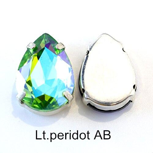 5 размеров красочные стеклянные хрустальные серебряные коготь пришивные стразы с коготь капли воды красные Пришивные коготь стразы для одежды B0403 - Цвет: Lt.peridot AB