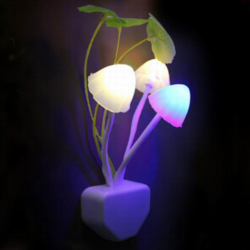 Z20Novelty Mushroom Fungus Night Light EU&US Plug Light Sensor AC110V-220V 3LED Colorful Mushroom Lamp Led Night Lights For Baby