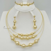 2017 New Top Quality Italy Dubai Jewelry Set For Women Fashion 3color Silver Rose Gold Color Fine Bracelet Earring Necklace Sets