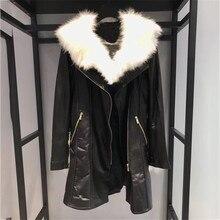 Long Genuine Leather Jacket for Women long Sleeve Black High Quality Cool Fashion Elegant Lady Coat 2018 new Women Jacket