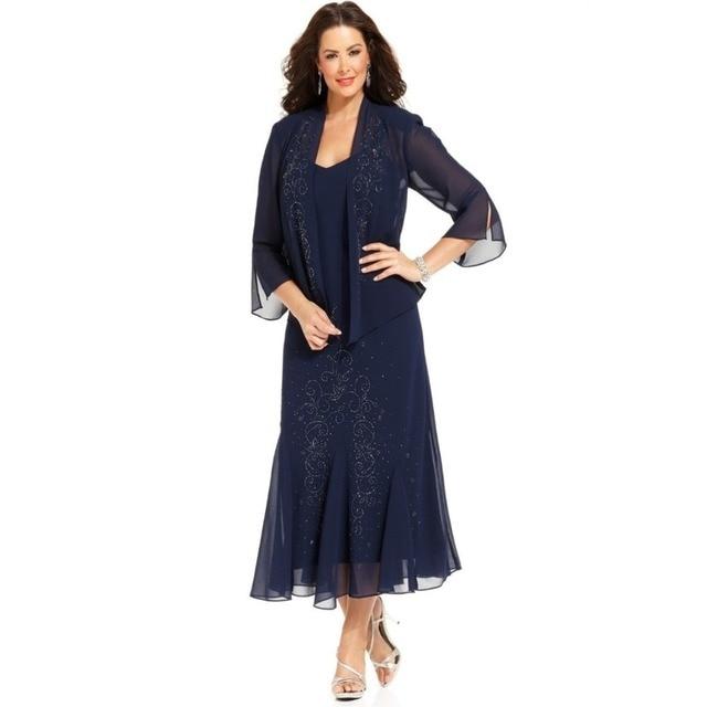 Темно-Синий Мать Невесты Платье с Курткой Половина рукавом Бисером-line Вечеринок Платья Чай Длина Плюс Размер элегантный