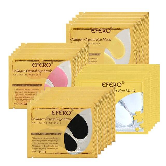 EFERO 8 pares = 16 piezas máscara de oro 24 K máscara de colágeno antiedad antiarrugas eliminar la oscuridad parches de ojos circulares para el cuidado de la cara de la máscara