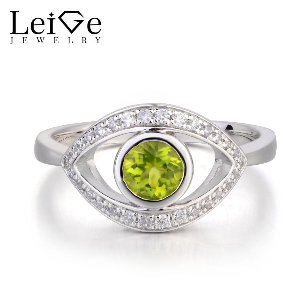 купить Leige Jewelry Real Natural Green Peridot Ring Anniversary Ring Round Cut Gemstone August Birthstone 925 Sterling Silver Ring по цене 6731.75 рублей