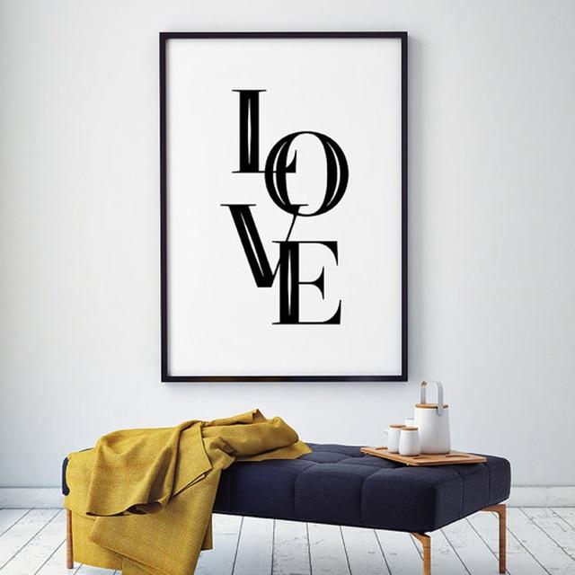 Love Wall Art Scandinavian Poster Typography Art Love Black & White ...