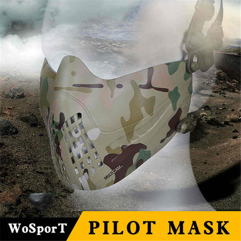 Tactical Paintball Train Mask Airsoft Protective Half Pilot Masks Faces Shield Hunting Shooting Military Game Breathable Freely