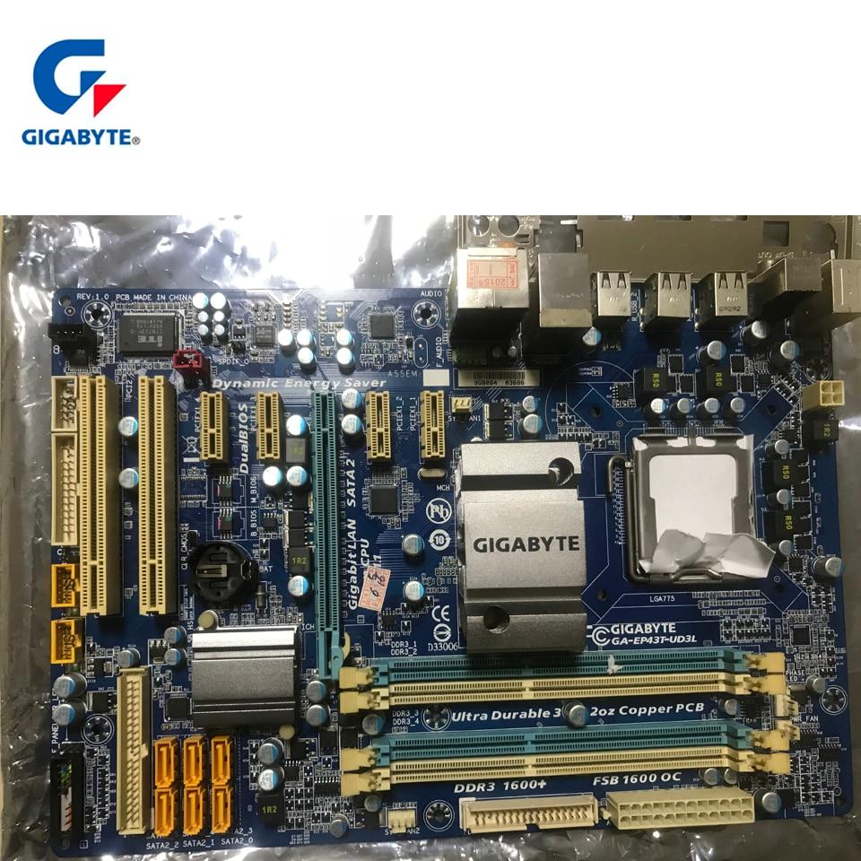 Gigabyte GA-EP43T-UD3L 100% Original Motherboard LGA 775 DDR3 USB2.0 16G P43 EP43T-UD3L Desktop Main board Systemboard Used