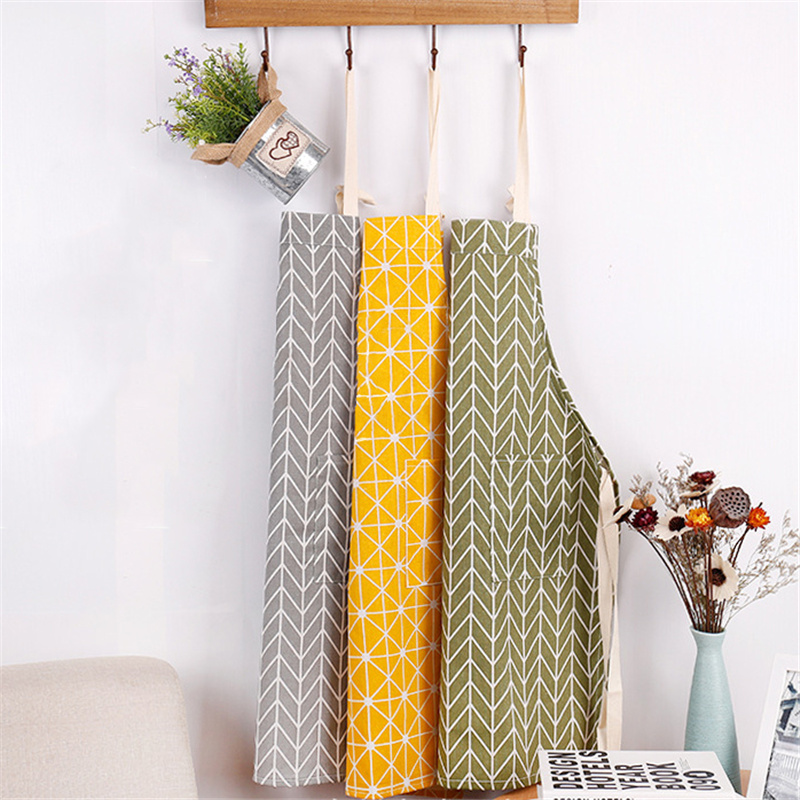 1Pcs Cactus Deer Cotton Linen Apron Woman Adult Bibs Home Cooking Baking Coffee Shop Cleaning Aprons Kitchen Accessory 46096
