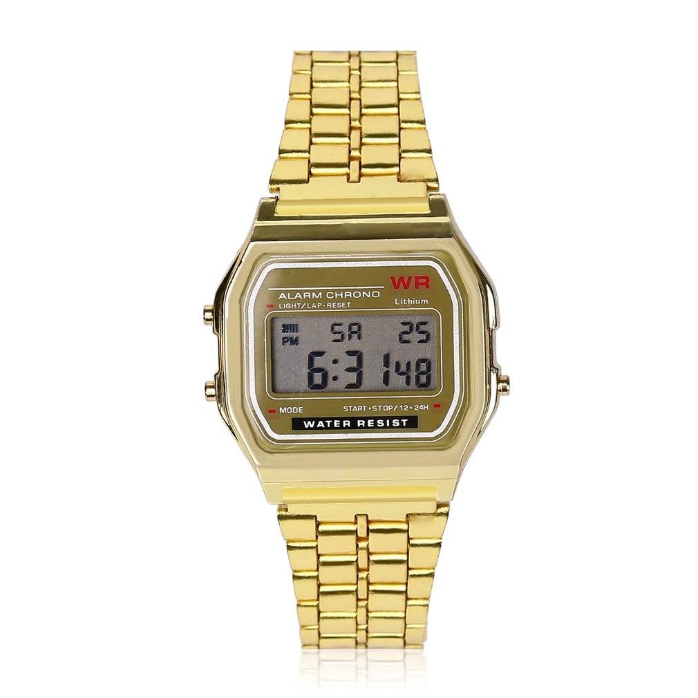 Vintage LED Digital Watch Waterproof Steel Strap Quartz Wristband Golden Dress Wrist Watch For Men Women Sports Traveling GIFTS