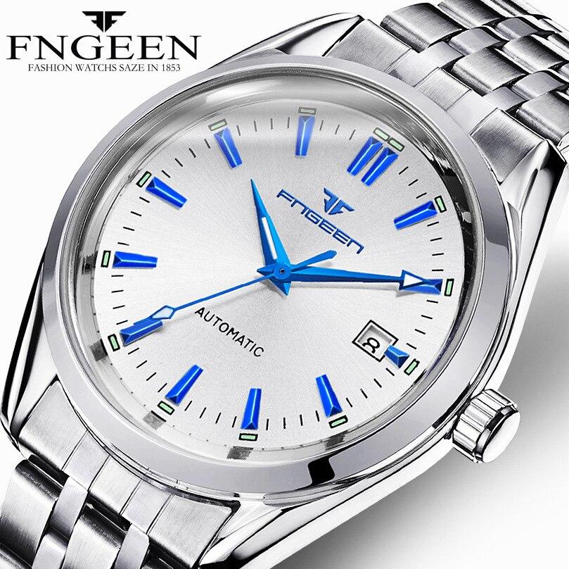 Men Automatic Mechanical Watch Blue Hands With Calendar Date montre homme Waterproof reloj hombre FNGEEN 6612-1