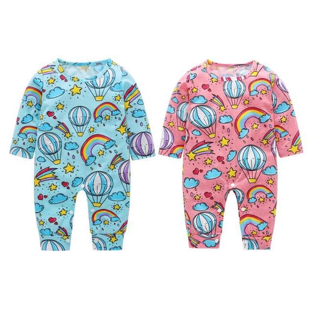 1f6037397 New 2018 Baby Long Sleeve Cartoon Jumpsuits Printed Newborn Girl Boy ...