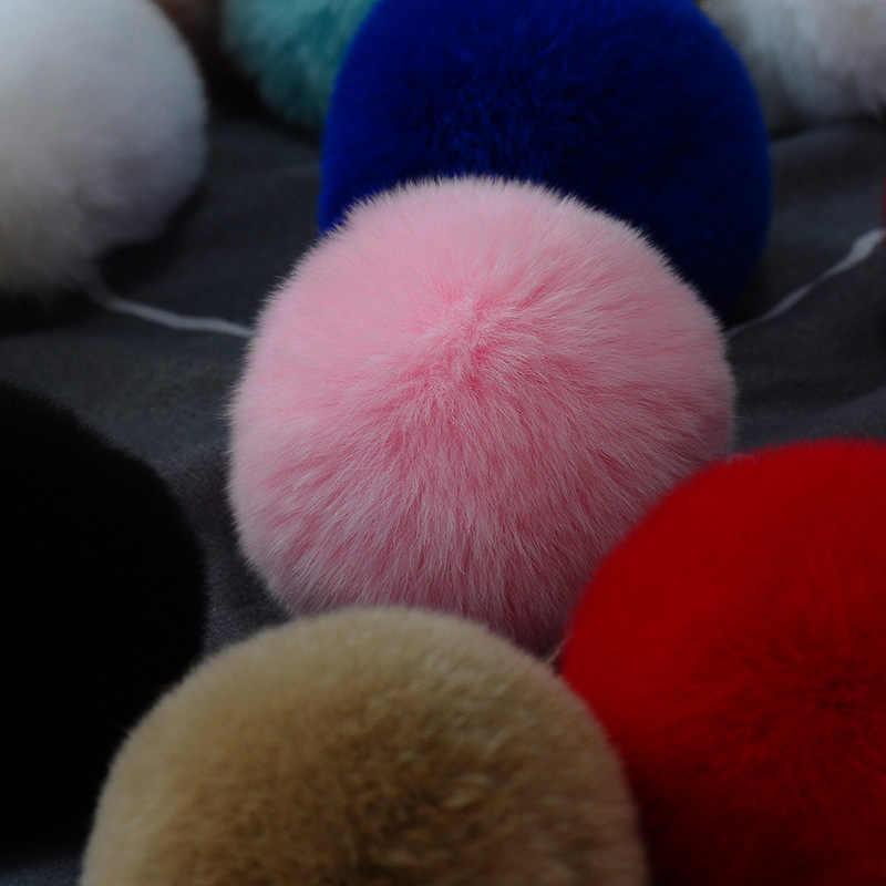 8 CENTÍMETROS Naturais De Pele De Coelho Bola Pompom Fofo Linda Corrente Chave Keychain Anel Chave Bonito Pom Pom Porte Clef Para mulheres Charme Saco de Brinquedos