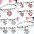 New Fashion Jewelry Family Jewelry Mom Sister Daughter Bracelet Hope Heart Shape Beads Crystal Rhinestone For Women Gifts