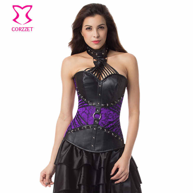 Фиолетовые парчи и черные кожаные ремешки, уздечка Топ бюстье сексуальный стимпанк корсет готическая одежда плюс размер корсеты и бюстье